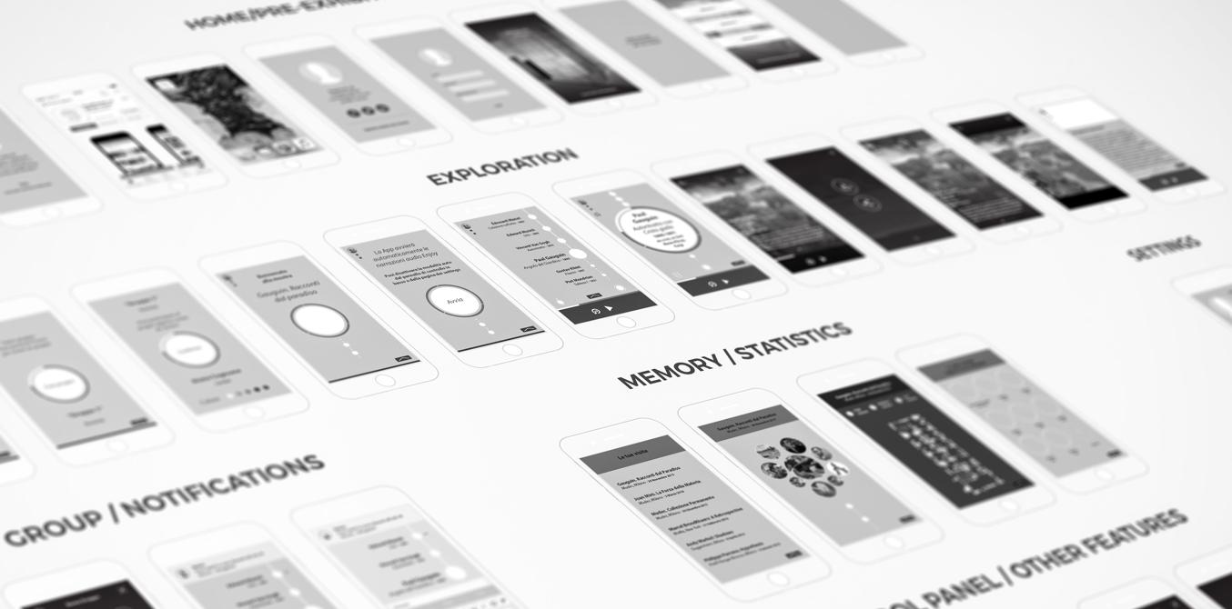 Enjoymuseum. Museum experience design - Fabio Besti - app wireframing 2