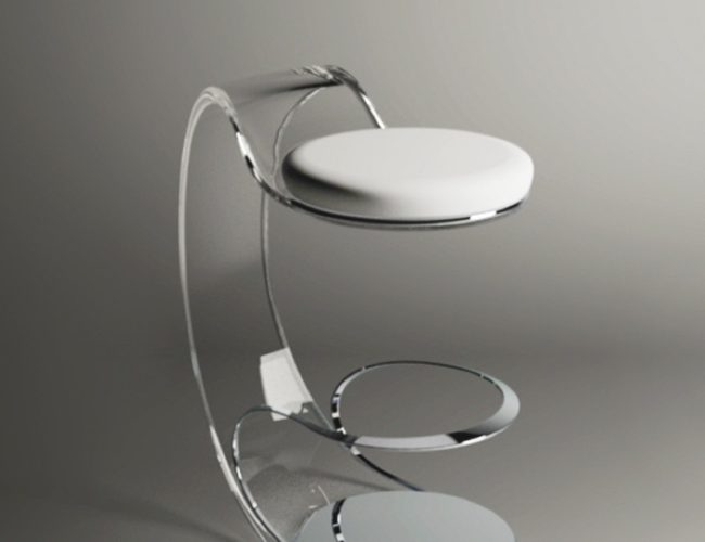 Product concept design of Acrilico, the piezoelectric lighting stool. Fabio Besti