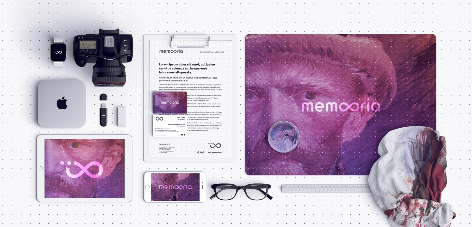 Memooria stationary. Branding for a start-up in the art monitoring field by Fabio Besti