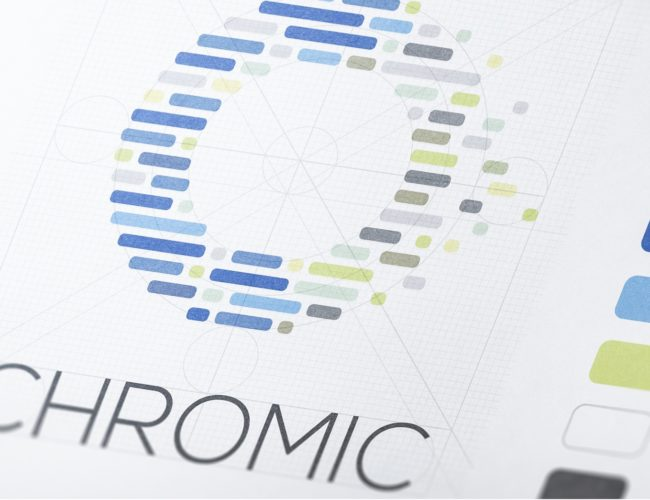 Color palettes, logo construction and typeface of the CHROMIC Horizon 2020 Visual Identity, designed by Fabio Besti