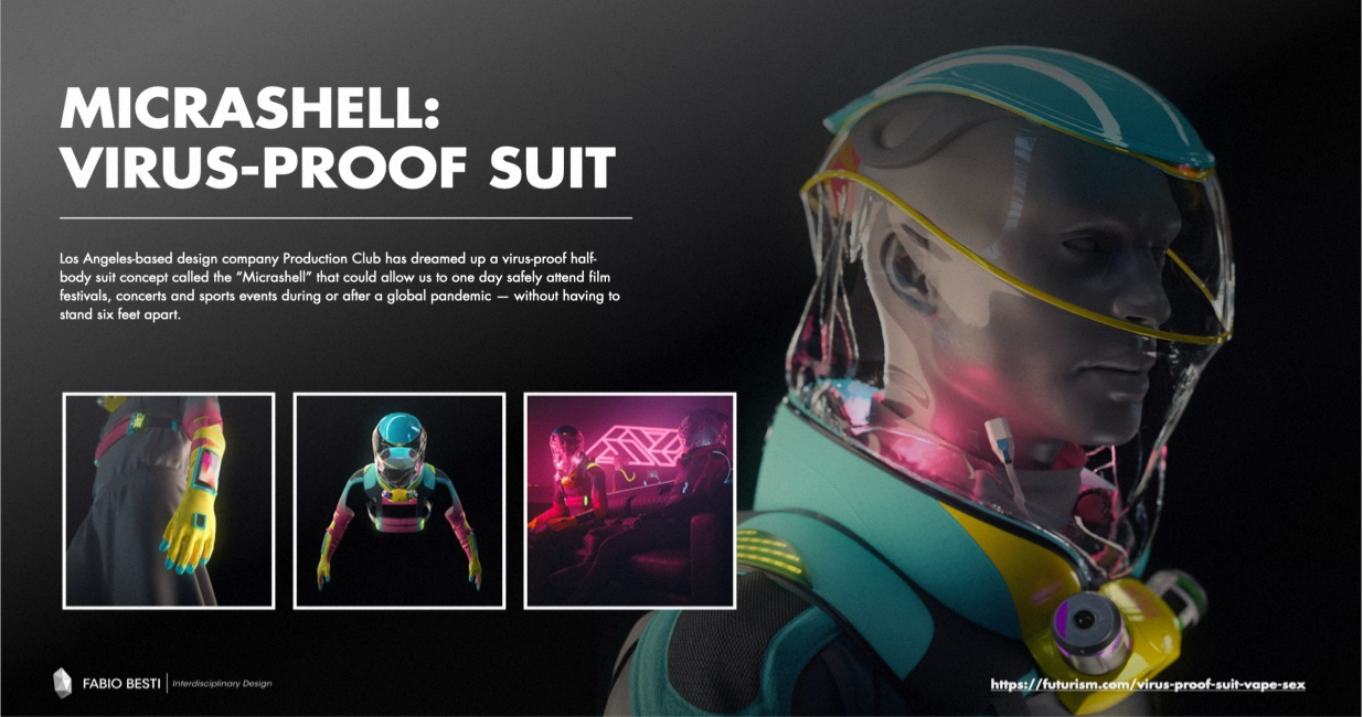 Also interesting are also extreme visions and concepts for the New Normal, like the Micrashell designed by Production Club, virus-proof suit that could let us socialize without maintain at distance