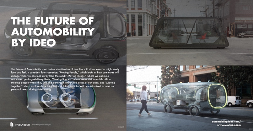 First slide from the lesson given to class: the case study project Future of Automobility by IDEO