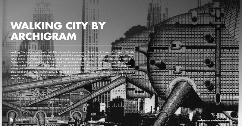 One of the slides from the lesson given to class: the case study project Walking City by Archigram