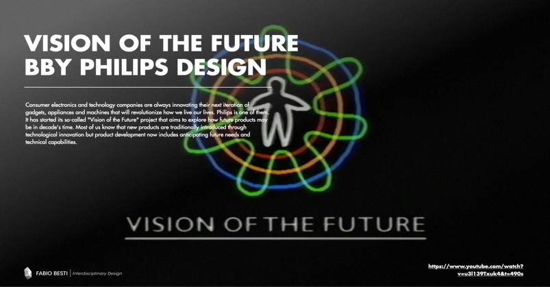 One of the slides from the lesson given to class: the case study project Vision of the Future by Philips Design
