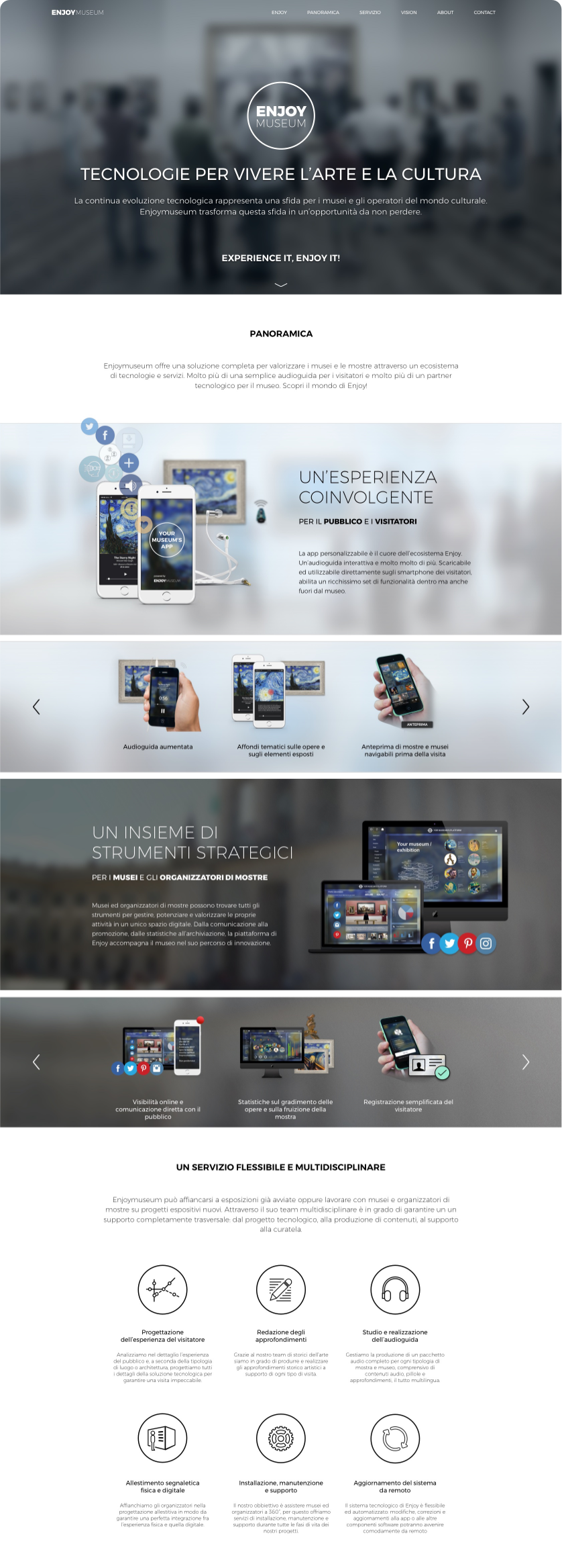 Enjoymuseum. Museum experience design by Fabio Besti - The Website Homepage long vertical
